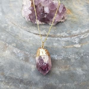 Amethyst Crystal Point Necklace Boho Gold